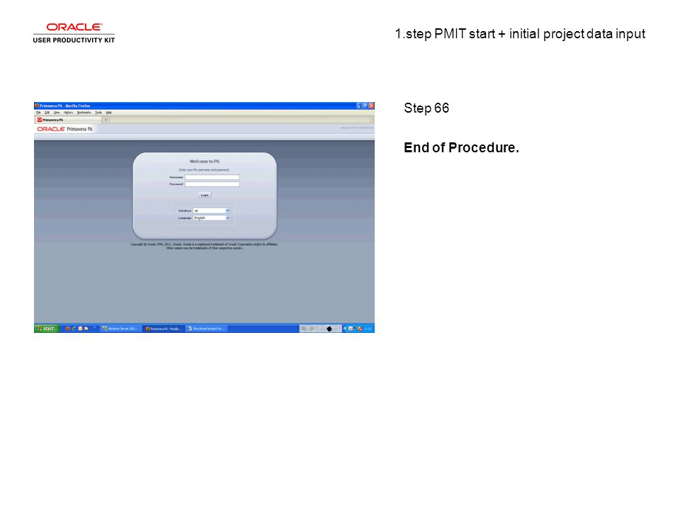 1.step PMIT start + initial project data input Step 66 End of Procedure.
