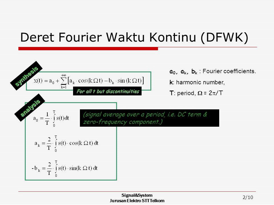 Signal&System Jurusan Elektro STT Telkom 2/10 Deret Fourier Waktu Kontinu (DFWK) a 0, a k, b k : Fourier coefficients.