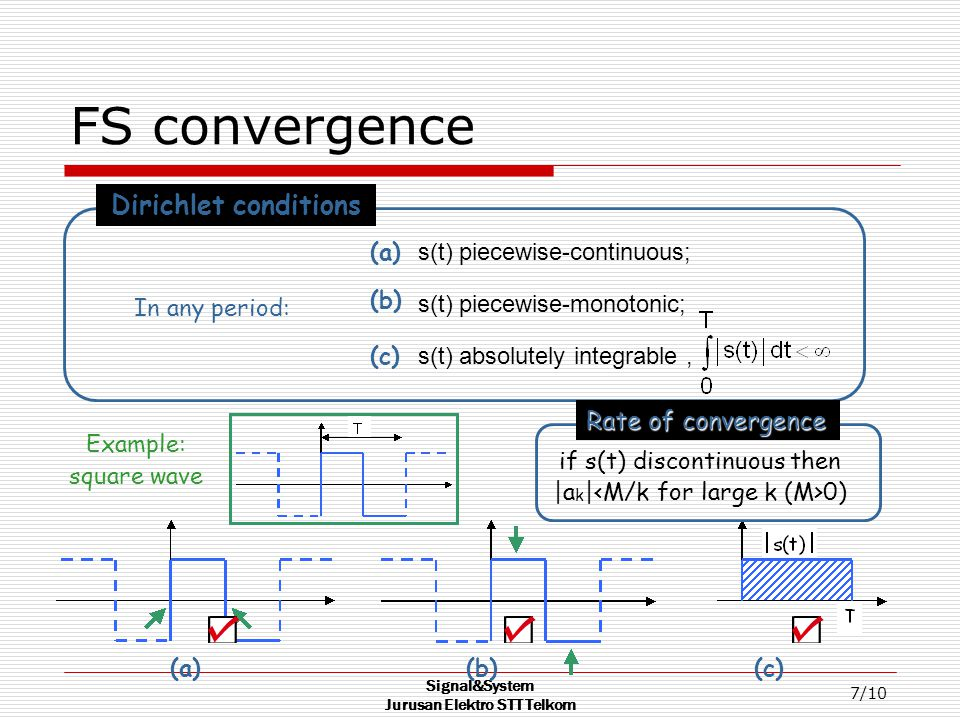 Signal&System Jurusan Elektro STT Telkom 7/10 FS convergence s(t) piecewise-continuous; s(t) piecewise-monotonic; s(t) absolutely integrable, (a) (b) (c) Dirichlet conditions In any period: Example: square wave (a)(b)(c) if s(t) discontinuous then |a k | 0) Rate of convergence