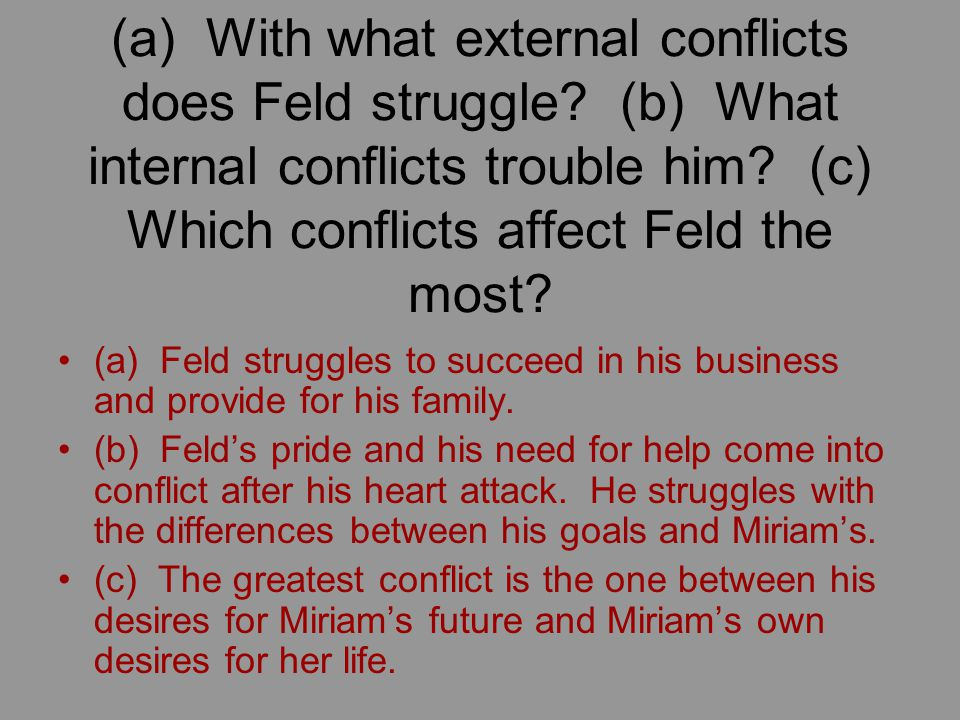 (a) With what external conflicts does Feld struggle.
