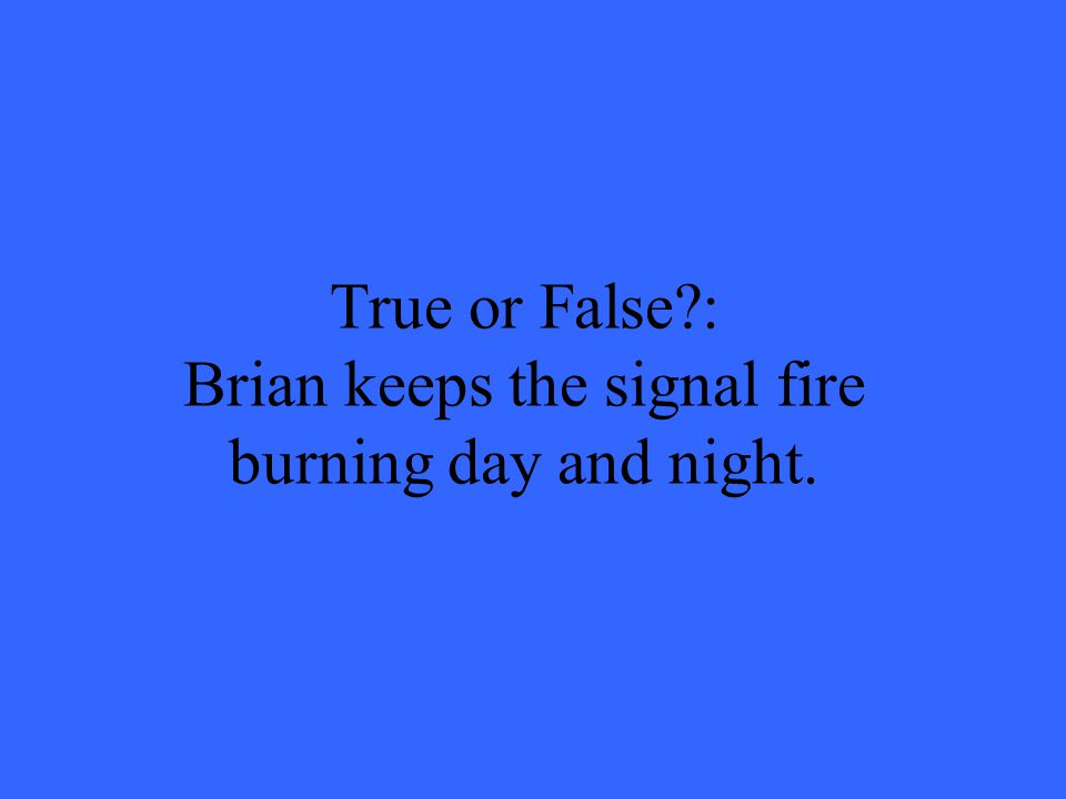 True or False?: Brian keeps the signal fire burning day and night.