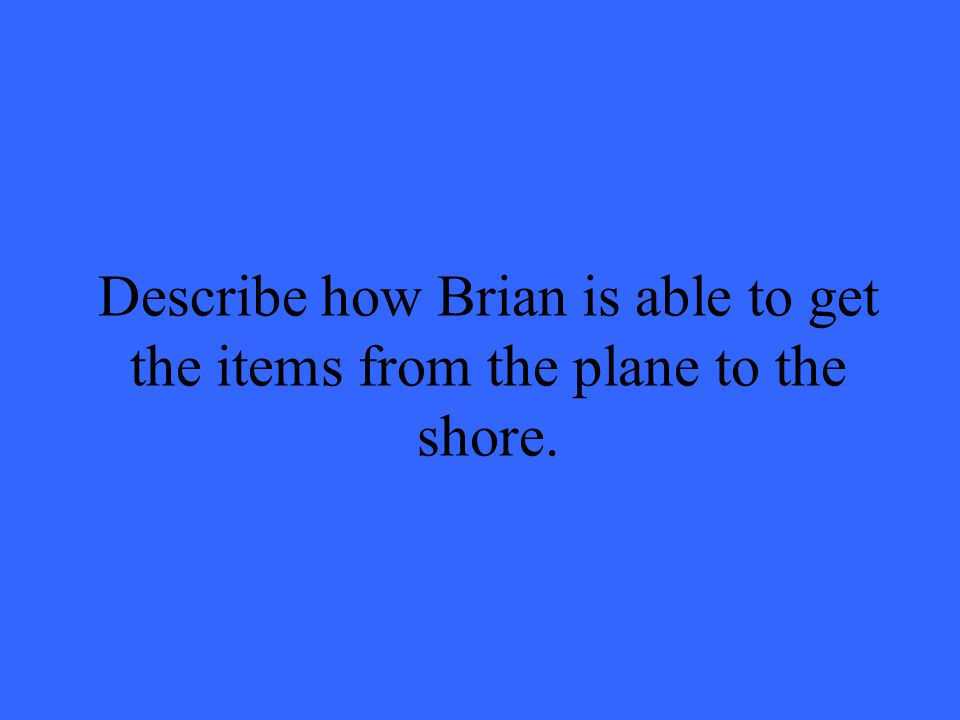 Describe how Brian is able to get the items from the plane to the shore.