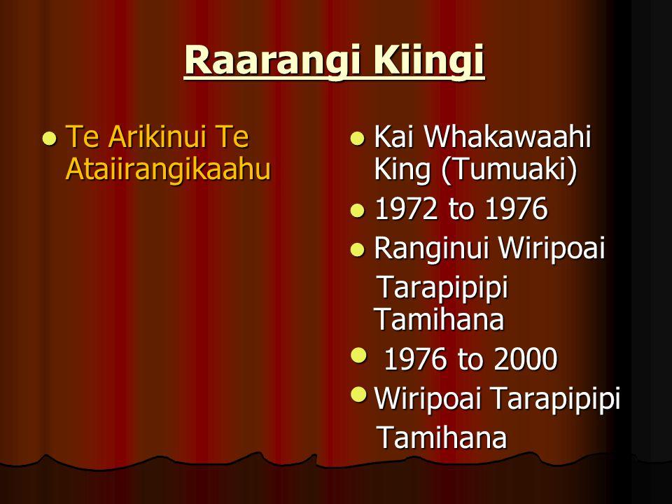 Raarangi Kiingi Te Arikinui Te Ataiirangikaahu Te Arikinui Te Ataiirangikaahu Kai Whakawaahi King (Tumuaki) Kai Whakawaahi King (Tumuaki) 1972 to 1976