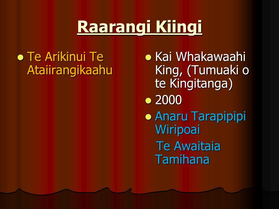 Raarangi Kiingi Te Arikinui Te Ataiirangikaahu Te Arikinui Te Ataiirangikaahu Kai Whakawaahi King, (Tumuaki o te Kingitanga) Kai Whakawaahi King, (Tum