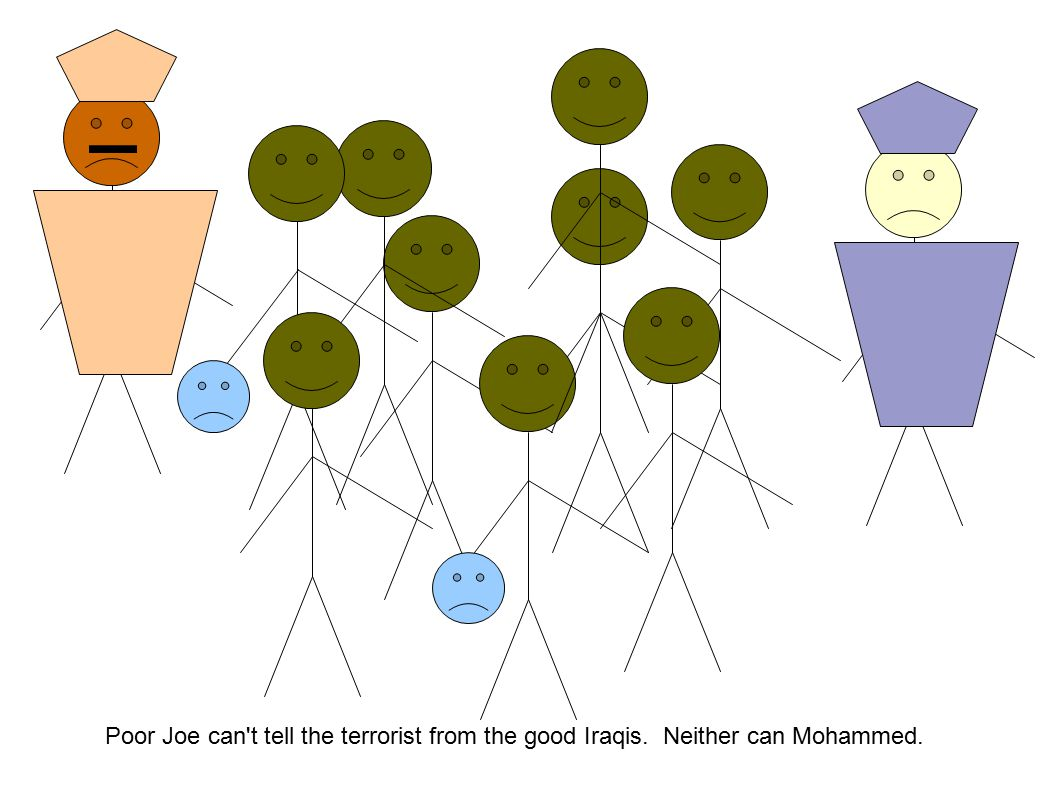 Poor Joe can t tell the terrorist from the good Iraqis. Neither can Mohammed.