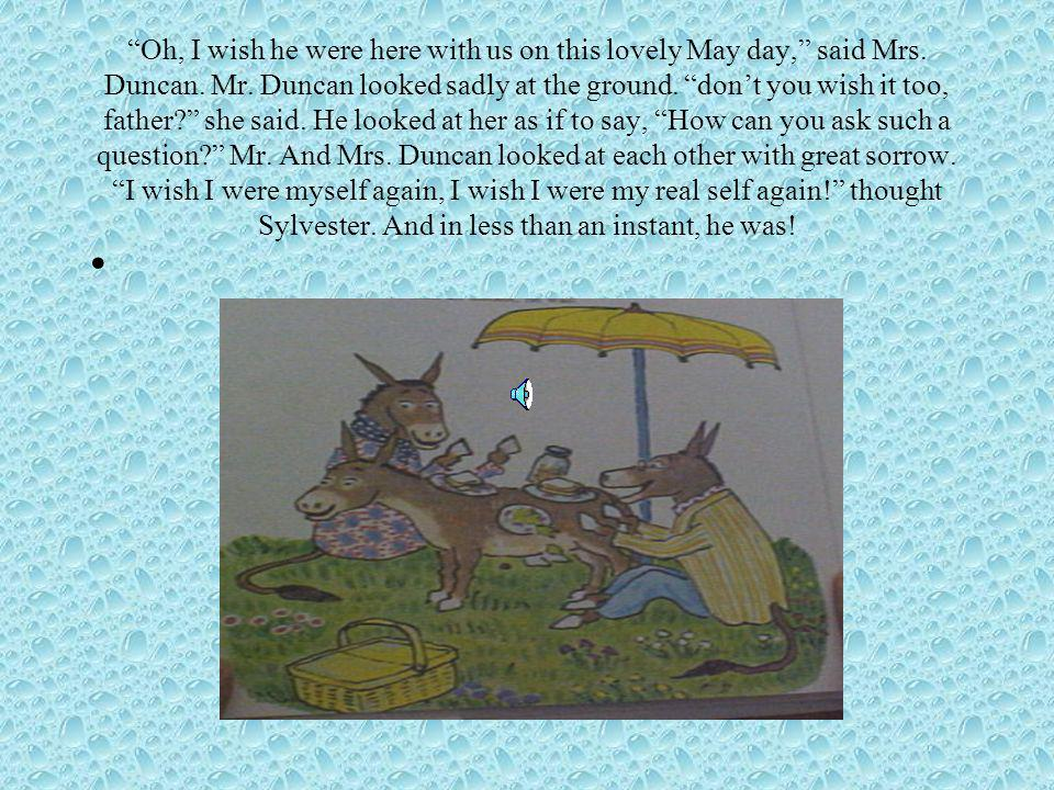 """They sat down to eat. Sylvester wads now as wide awake as a donkey that was a rock could possibly be. Mrs. Duncan felt some mysterious excitement. """"yo"""
