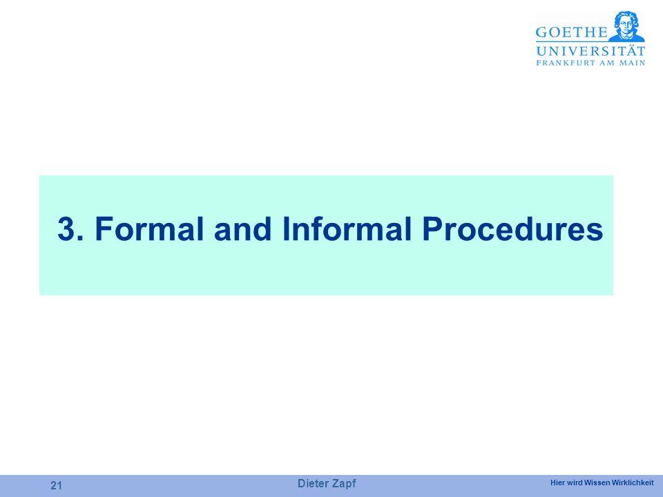 Hier wird Wissen Wirklichkeit 3. Formal and Informal Procedures Dieter Zapf 21