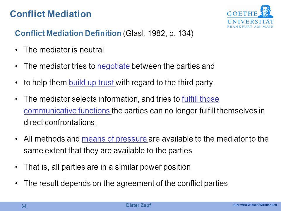 Hier wird Wissen Wirklichkeit Conflict Mediation Definition (Glasl, 1982, p.
