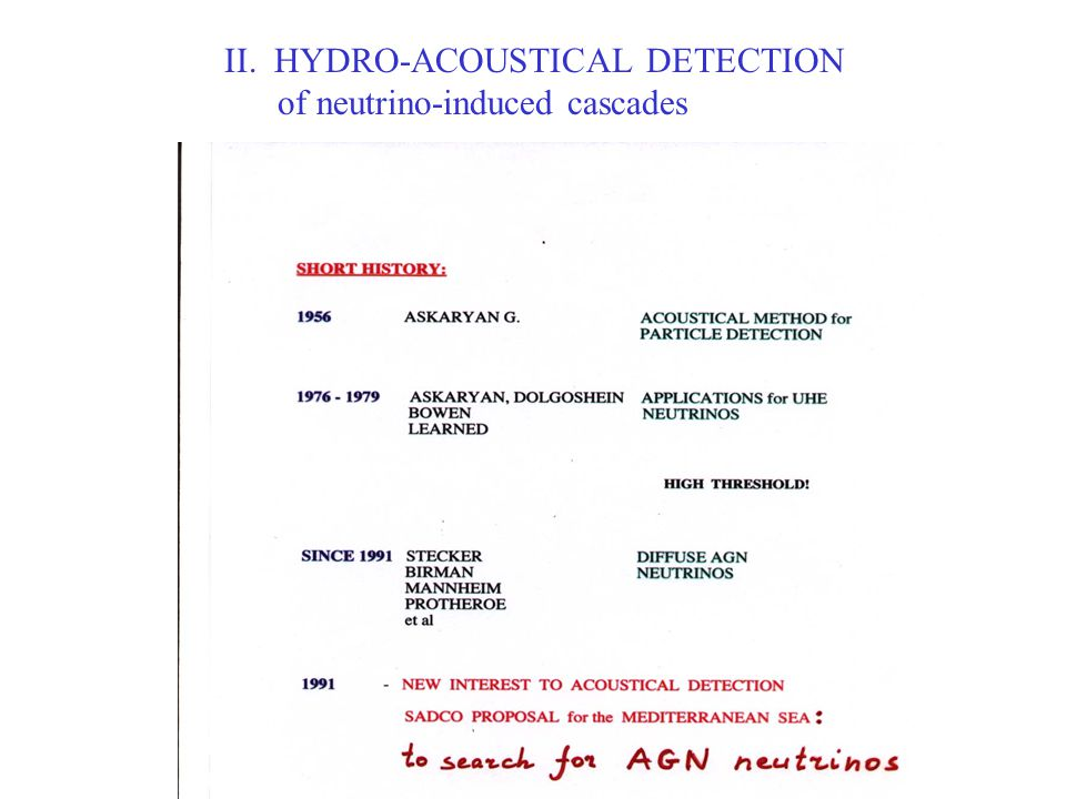 II. HYDRO-ACOUSTICAL DETECTION of neutrino-induced cascades