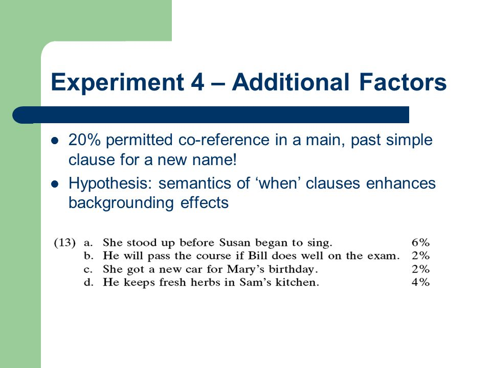 Experiment 4 – Additional Factors 20% permitted co-reference in a main, past simple clause for a new name! Hypothesis: semantics of 'when' clauses enh