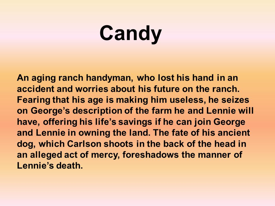 An aging ranch handyman, who lost his hand in an accident and worries about his future on the ranch. Fearing that his age is making him useless, he se