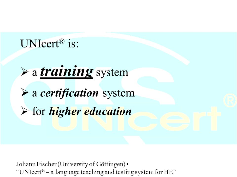 7. Example of a exam 7. Example of a UNIcert ® exam