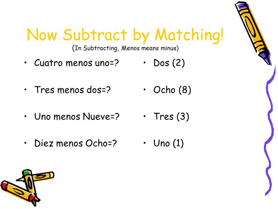Now Subtract by Matching. ( In Subtracting, Menos means minus) Cuatro menos uno=.