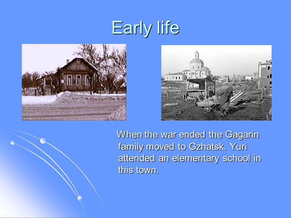 Early life Gagarin briefly attended a trade school to learn foundry work in the Moscow satellite town of Lyubertsy, then entered a technical school.