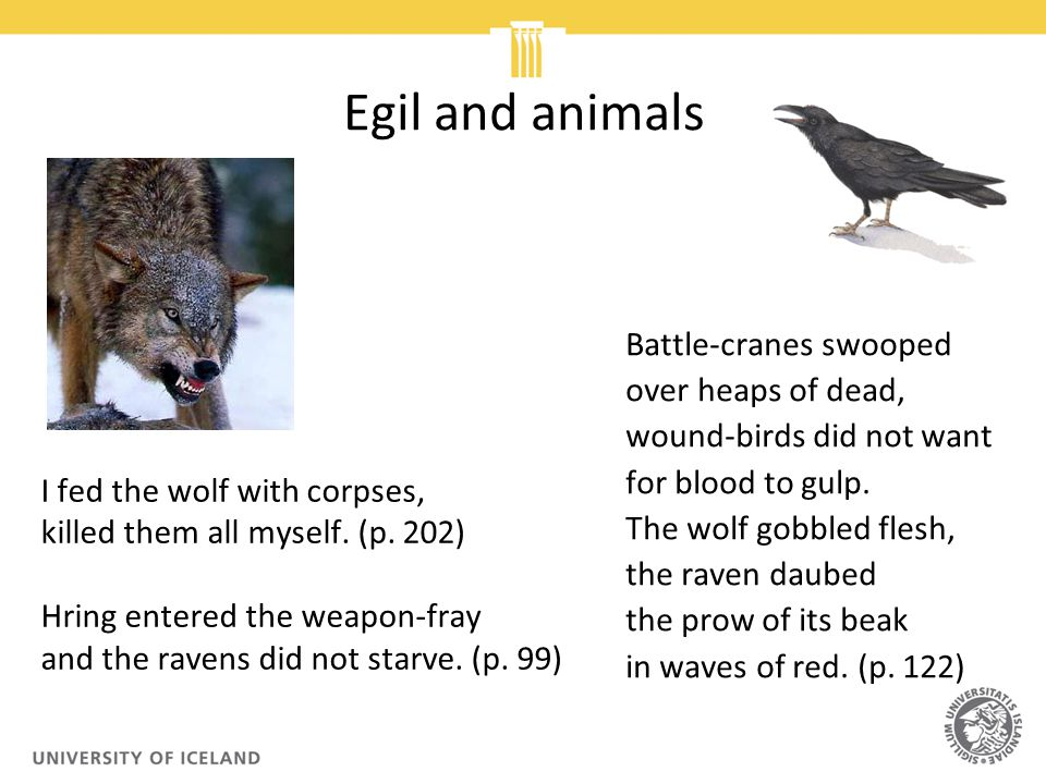 Egil and animals I fed the wolf with corpses, killed them all myself.