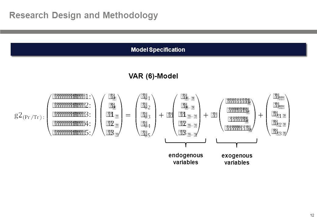 12 Textmasterformate durch Klicken bearbeiten Research Design and Methodology VAR (6)-Model endogenous variables exogenous variables