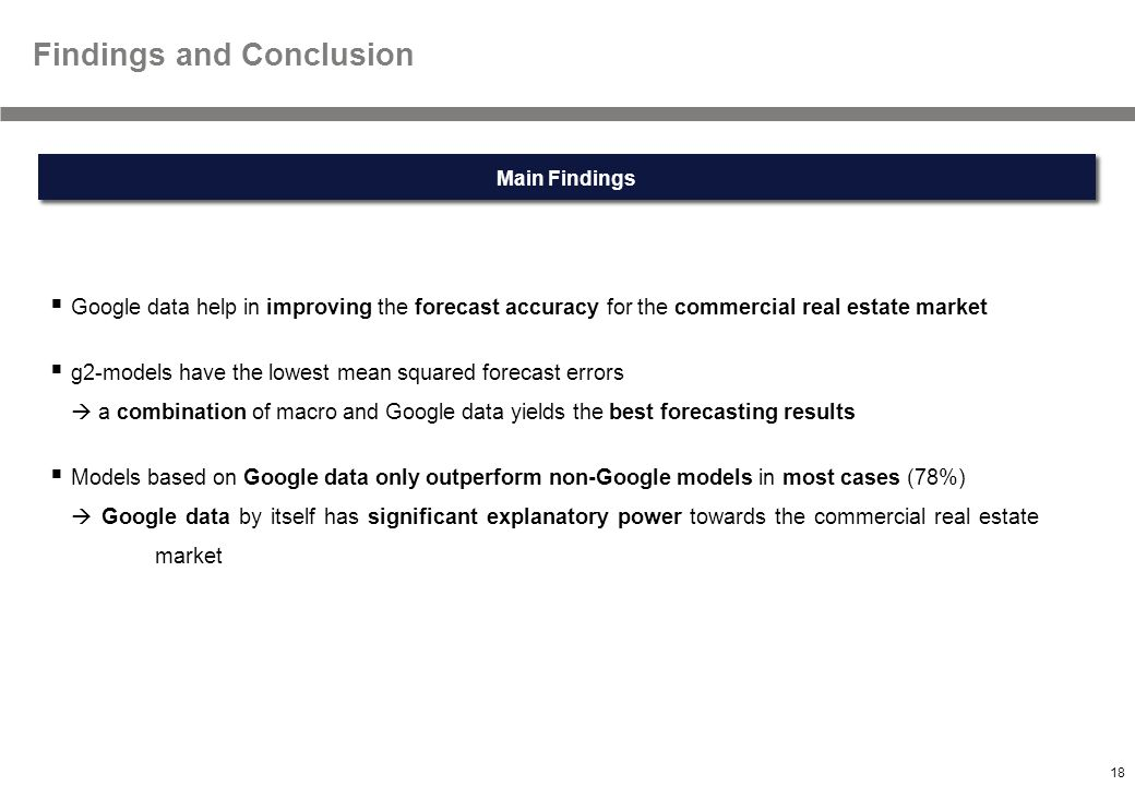 18 Textmasterformate durch Klicken bearbeiten Main Findings Findings and Conclusion  Google data help in improving the forecast accuracy for the commercial real estate market  g2-models have the lowest mean squared forecast errors  a combination of macro and Google data yields the best forecasting results  Models based on Google data only outperform non-Google models in most cases (78%)  Google data by itself has significant explanatory power towards the commercial real estate market