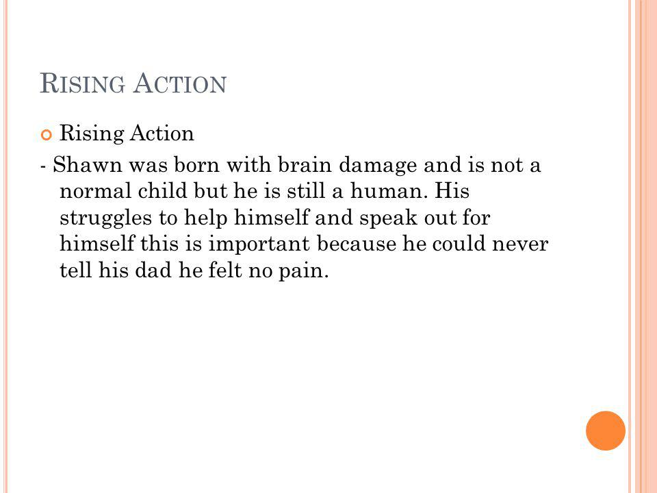 R ISING A CTION Rising Action - Shawn was born with brain damage and is not a normal child but he is still a human.