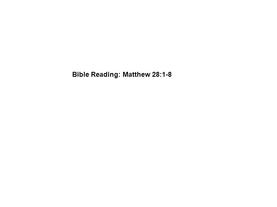 Bible Reading: Matthew 28:1-8