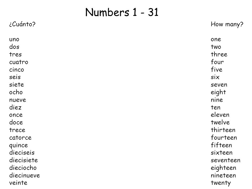 Numbers 1 - 31 ¿ Cuánto?How many.