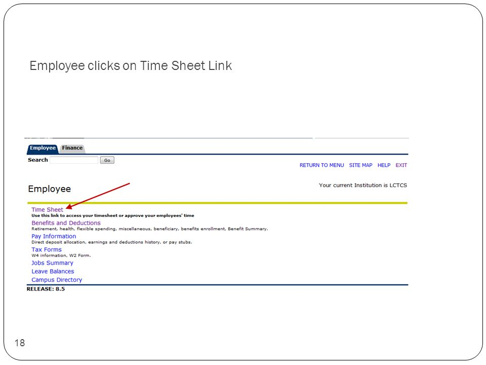 Employee clicks on Time Sheet Link 18
