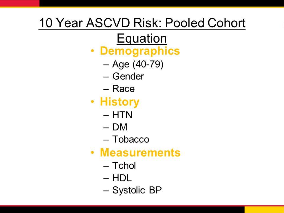 10 Year ASCVD Risk: Pooled Cohort Equation Demographics –Age (40-79) –Gender –Race History –HTN –DM –Tobacco Measurements –Tchol –HDL –Systolic BP