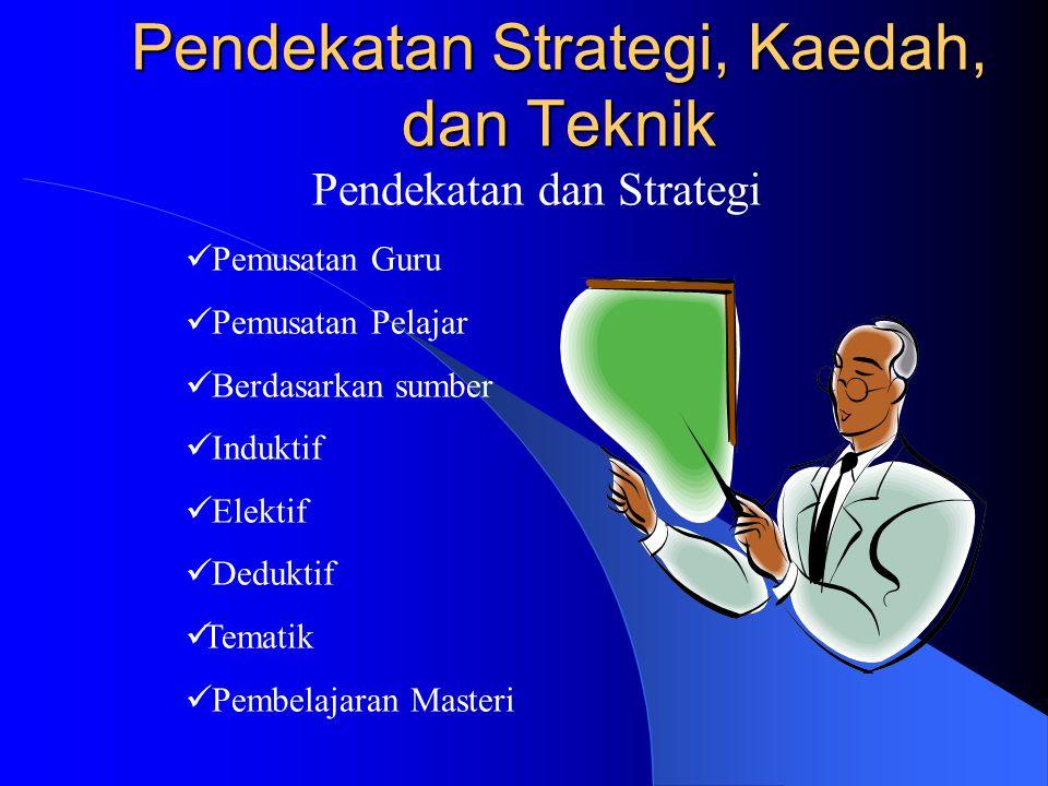 Pendekatan Strategi, Kaedah, dan Teknik Pendekatan dan Strategi Pemusatan Guru Pemusatan Pelajar Berdasarkan sumber Induktif Elektif Deduktif Tematik