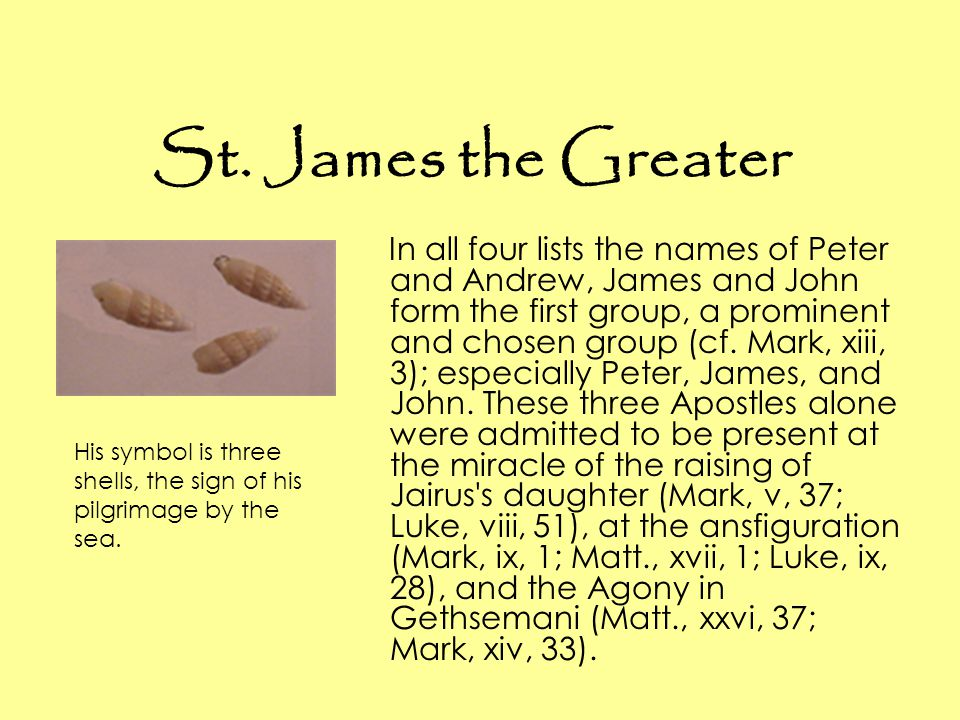 St. James the Greater In all four lists the names of Peter and Andrew, James and John form the first group, a prominent and chosen group (cf. Mark, xi