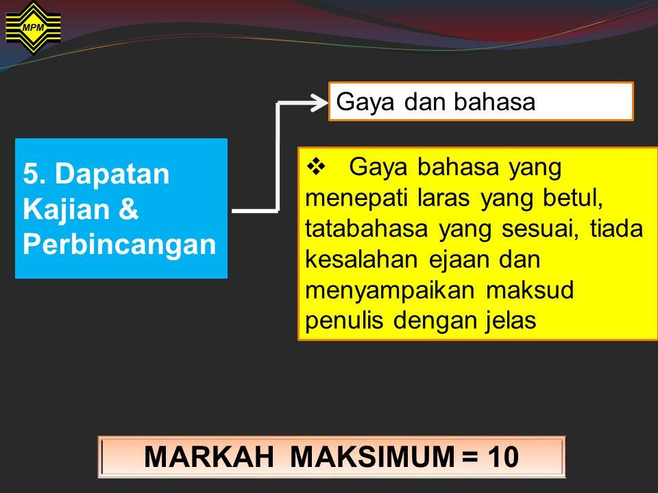 5. Dapatan Kajian & Perbincangan MARKAH MAKSIMUM = 15 Analisis dan pentafsiran  Terbukti analisis dan pentafsiran terhadap tugasan adalah relevan, te
