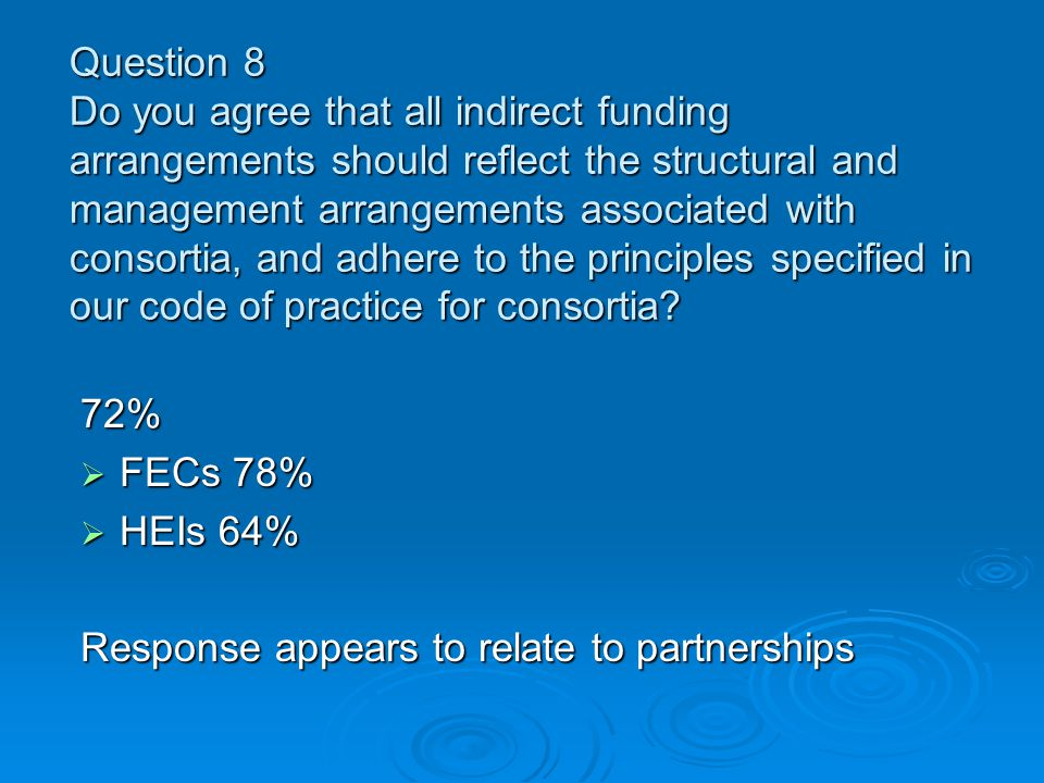 Question 8 Do you agree that all indirect funding arrangements should reflect the structural and management arrangements associated with consortia, and adhere to the principles specified in our code of practice for consortia.