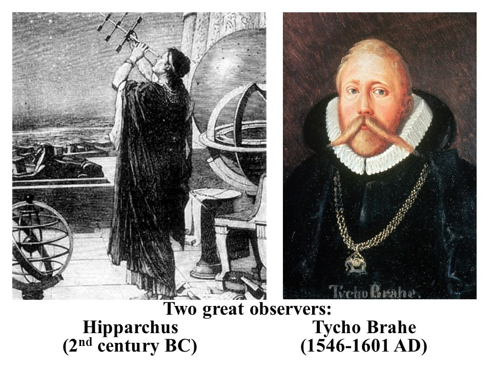 Two great observers: Hipparchus Tycho Brahe (2 nd century BC)(1546-1601 AD)