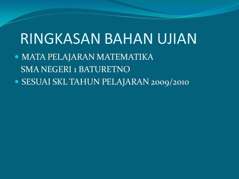 RINGKASAN BAHAN UJIAN MATA PELAJARAN MATEMATIKA SMA NEGERI 1 BATURETNO SESUAI SKL TAHUN PELAJARAN 2009/2010