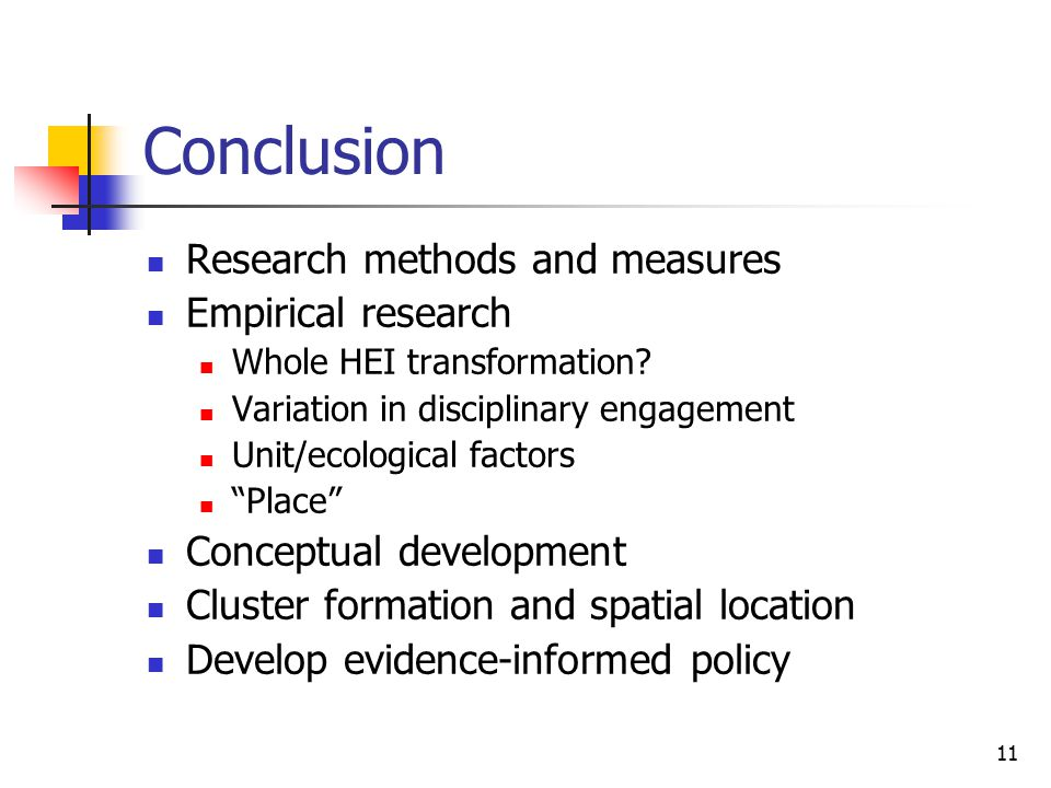 11 Conclusion Research methods and measures Empirical research Whole HEI transformation.