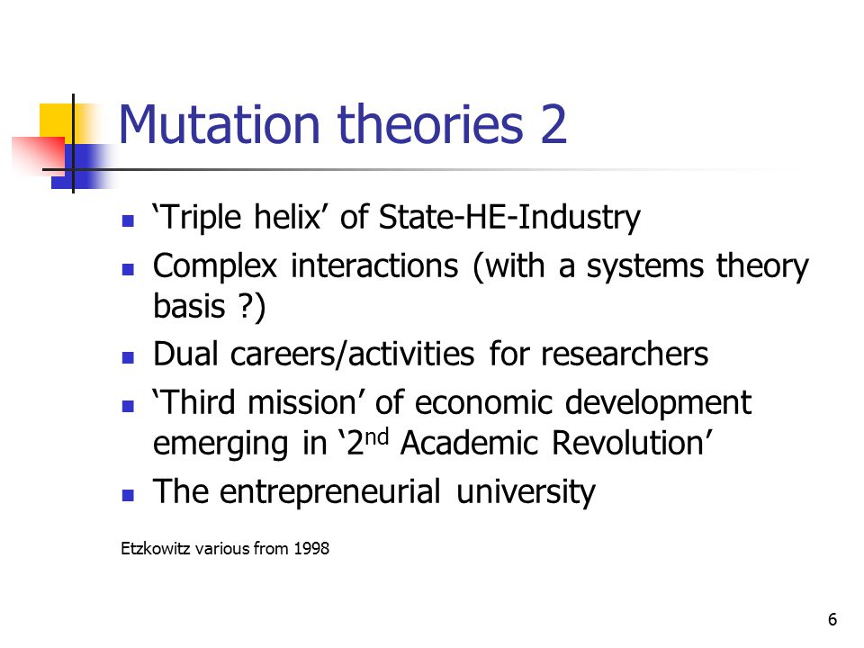 6 Mutation theories 2 'Triple helix' of State-HE-Industry Complex interactions (with a systems theory basis ?) Dual careers/activities for researchers 'Third mission' of economic development emerging in '2 nd Academic Revolution' The entrepreneurial university Etzkowitz various from 1998