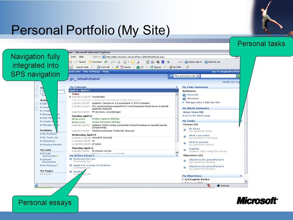 Personal Portfolio (My Site) Navigation fully integrated into SPS navigation Personal tasks Personal essays