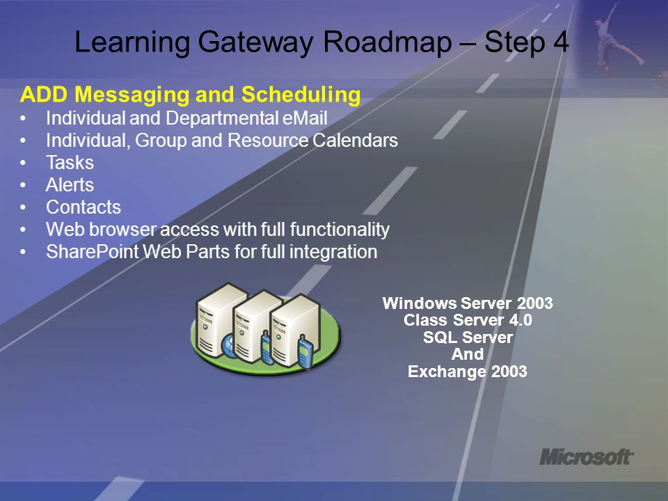 Learning Gateway Roadmap – Step 4 ADD Messaging and Scheduling Individual and Departmental eMail Individual, Group and Resource Calendars Tasks Alerts