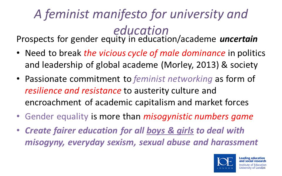 A feminist manifesto for university and education Prospects for gender equity in education/academe uncertain Need to break the vicious cycle of male dominance in politics and leadership of global academe (Morley, 2013) & society Passionate commitment to feminist networking as form of resilience and resistance to austerity culture and encroachment of academic capitalism and market forces Gender equality is more than misogynistic numbers game Create fairer education for all boys & girls to deal with misogyny, everyday sexism, sexual abuse and harassment 24