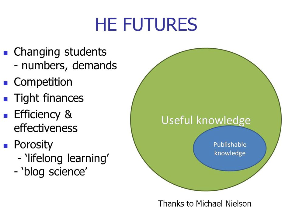 HE FUTURES Changing students - numbers, demands Competition Tight finances Efficiency & effectiveness Porosity - 'lifelong learning' - 'blog science' New models - digitally driven