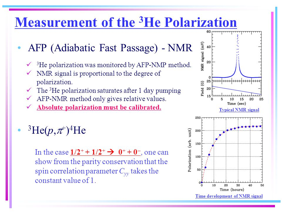 3 He(p,  + ) 4 He Measurement of the 3 He Polarization 3 He polarization was monitored by AFP-NMP method.