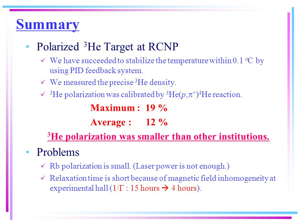 Summary Polarized 3 He Target at RCNP We have succeeded to stabilize the temperature within 0.1  C by using PID feedback system.