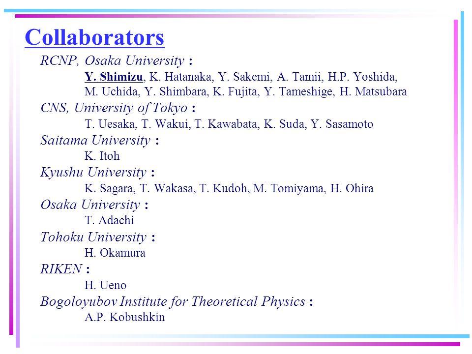 Collaborators RCNP, Osaka University : Y. Shimizu, K. Hatanaka, Y. Sakemi, A. Tamii, H.P. Yoshida, M. Uchida, Y. Shimbara, K. Fujita, Y. Tameshige, H.