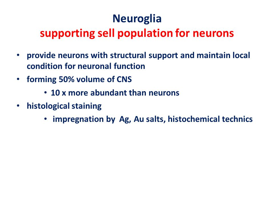 Neuroglia supporting sell population for neurons provide neurons with structural support and maintain local condition for neuronal function forming 50