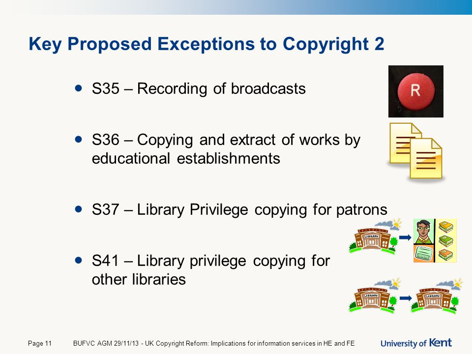Key Proposed Exceptions to Copyright 2 S35 – Recording of broadcasts S36 – Copying and extract of works by educational establishments S37 – Library Pr