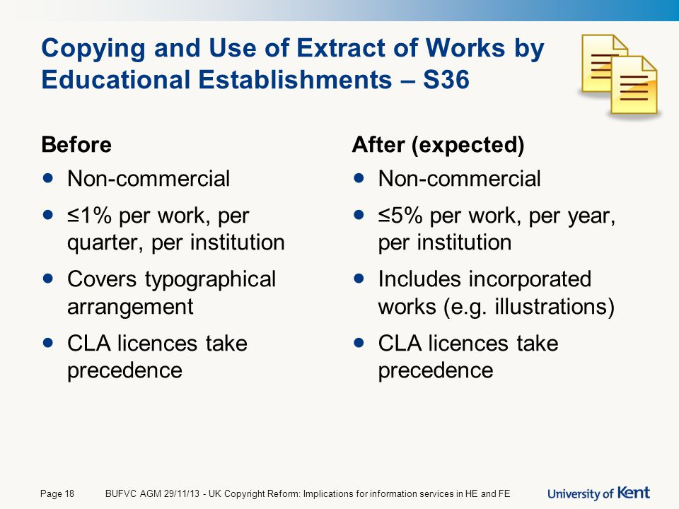 Copying and Use of Extract of Works by Educational Establishments – S36 Before Non-commercial ≤1% per work, per quarter, per institution Covers typogr