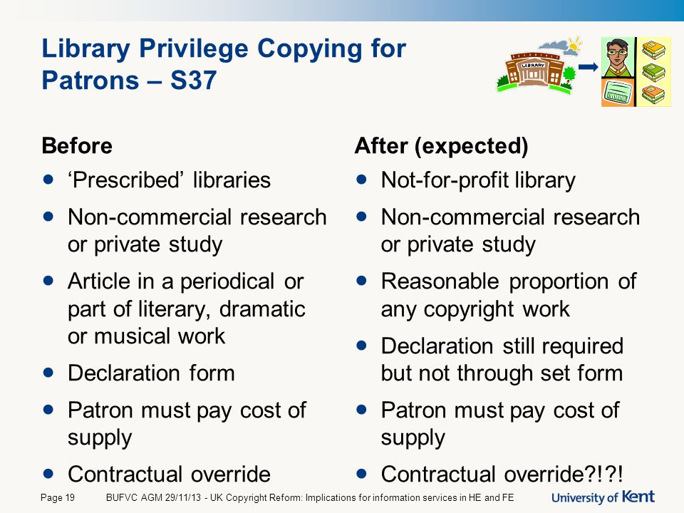 Library Privilege Copying for Patrons – S37 Before 'Prescribed' libraries Non-commercial research or private study Article in a periodical or part of