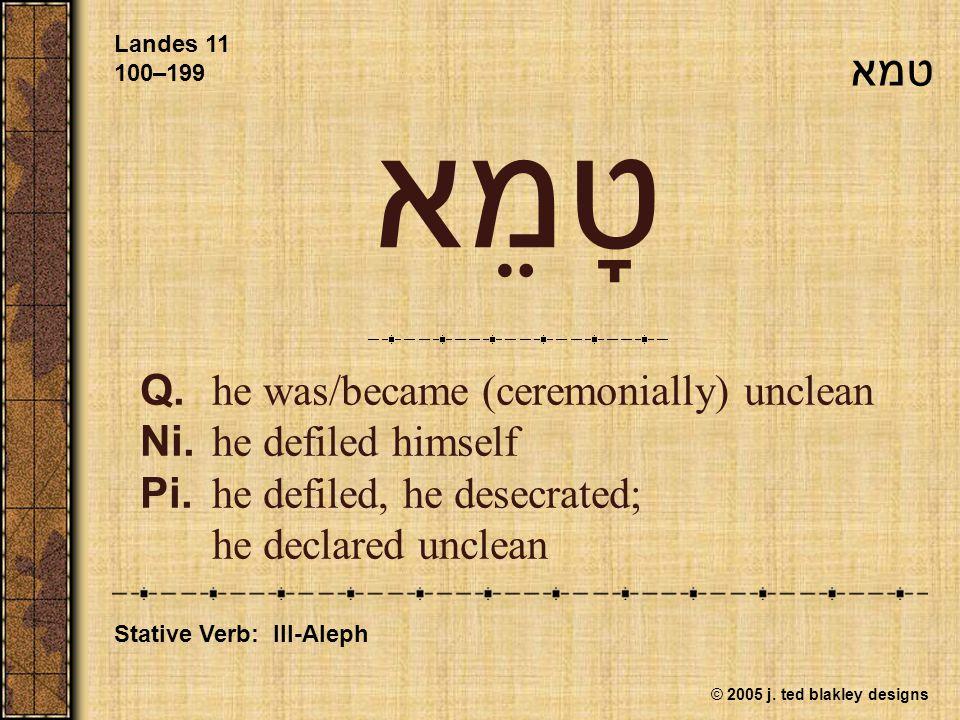 © 2005 j. ted blakley designs טָמֵא Q.he was/became (ceremonially) unclean Ni.he defiled himself Pi.he defiled, he desecrated; he declared unclean Lan
