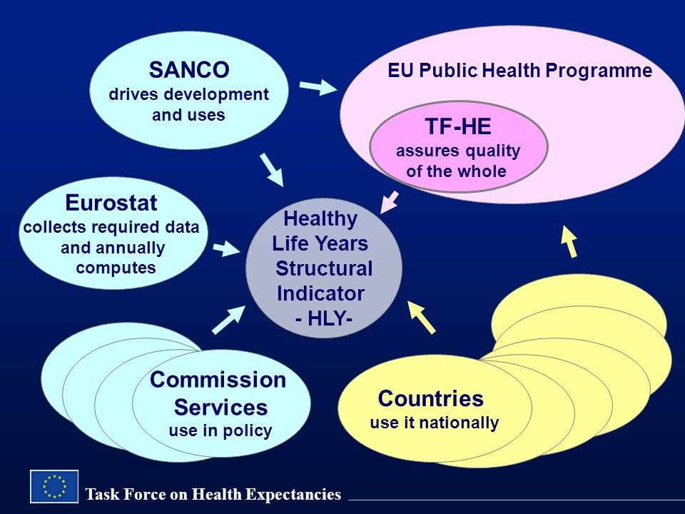 Task Force on Health Expectancies SANCO drives development and uses Eurostat collects required data and annually computes Healthy Life Years Structural Indicator - HLY- EU Public Health Programme TF-HE assures quality of the whole Commission Services use in policy Countries use it nationally