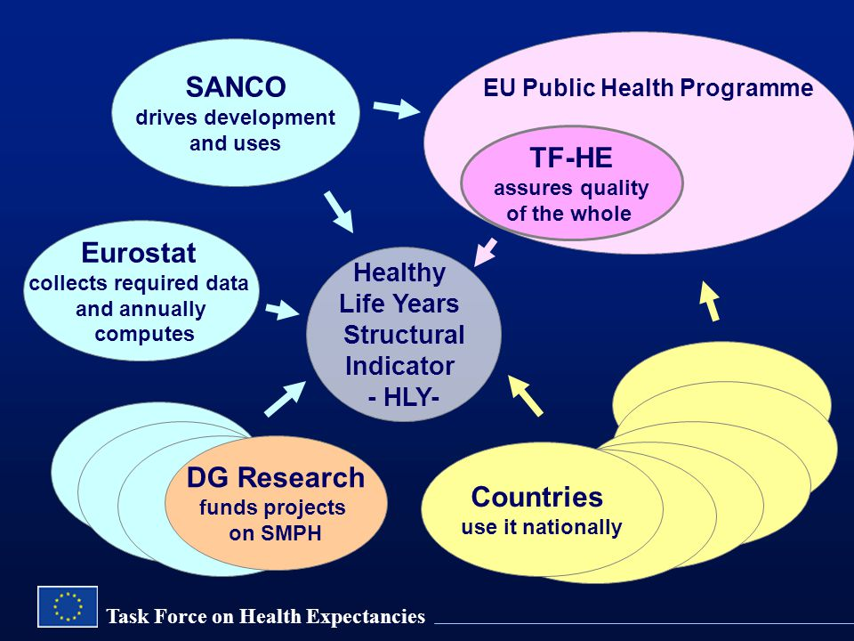 Task Force on Health Expectancies SANCO drives development and uses Eurostat collects required data and annually computes Healthy Life Years Structural Indicator - HLY- EU Public Health Programme TF-HE assures quality of the whole DG Research funds projects on SMPH Countries use it nationally