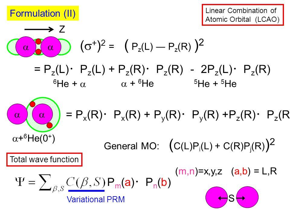  (  + ) 2 = ( P z (L) ― P z (R) ) 2 Formulation (II)  + 6 He 6 He +  5 He + 5 He Linear Combination of Atomic Orbital (LCAO)   + 6 He(0 + ) = P z (L) ・ P z (L) + P z (R) ・ P z (R) - 2P z (L) ・ P z (R) = P x (R) ・ P x (R) + P y (R) ・ P y (R) +P z (R) ・ P z (R) Total wave function Pm(a)・Pn(b)Pm(a)・Pn(b) (m,n)=x,y,z(a,b) = L,R Variational PRM S Z General MO: ( C(L)P i (L) + C(R)P j (R) ) 2