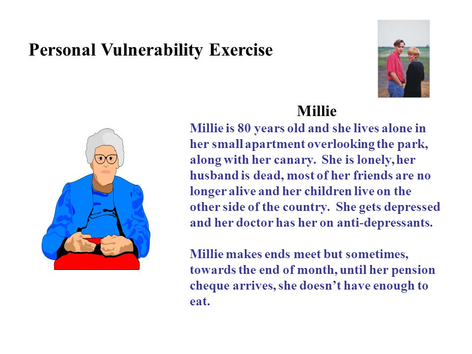 Millie Millie is 80 years old and she lives alone in her small apartment overlooking the park, along with her canary. She is lonely, her husband is de